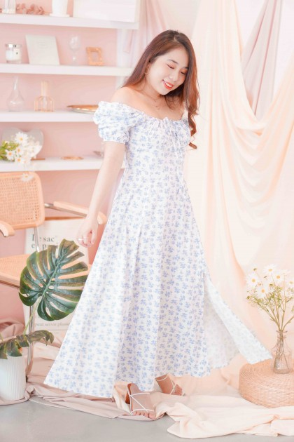 Ever Lane Floral Maxi Dress in Blue