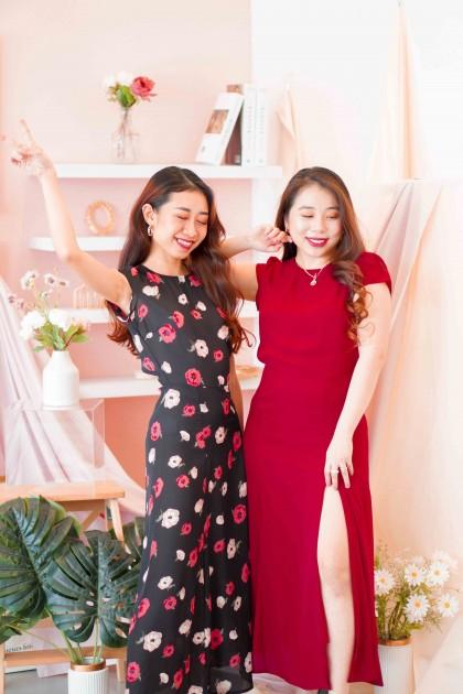 Spring Bells Cutout Midi Dress in Black Floral