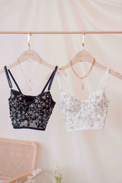 Fairy Wishes Floral Bustier Top in Black