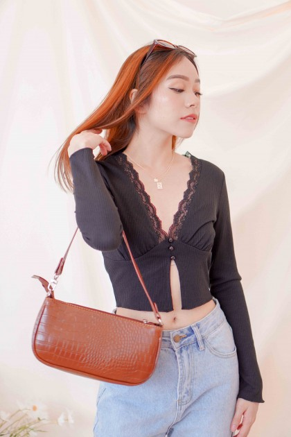 No Faker Deep V Lace Top in Black