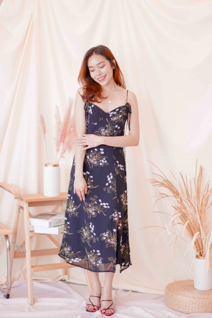 Clyde Self Tied Floral Midi Dress in Black