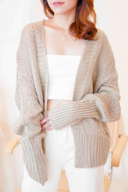 (BACKORDER) Menlo Knit Cardigan in Khaki