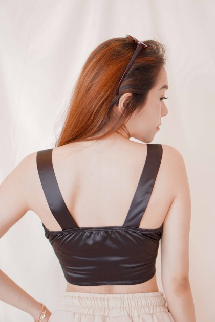 Lonely Rules Corset Crop Top in Black