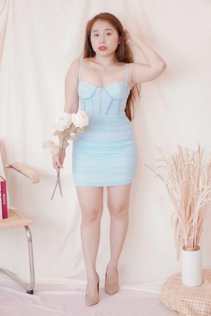 Iced Beauty Bustier Dress in Blue