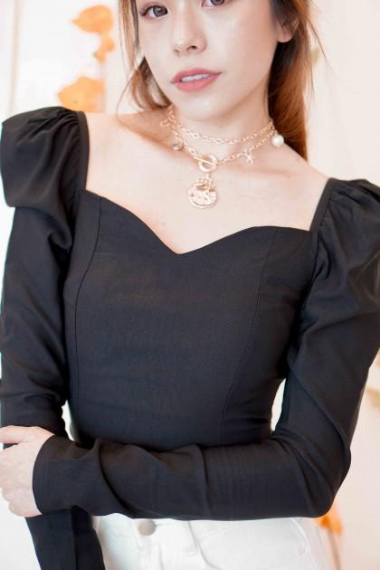 Dream Beam Puffy Sleeves Top in Black