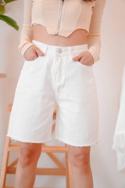 Frankie Midi Denim Shorts in White