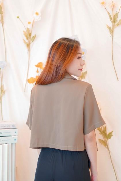 Low Grounds Short Sleeve Blazer in Dark Brown