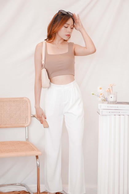 Cold Hearted Padded Crop Top in Khaki