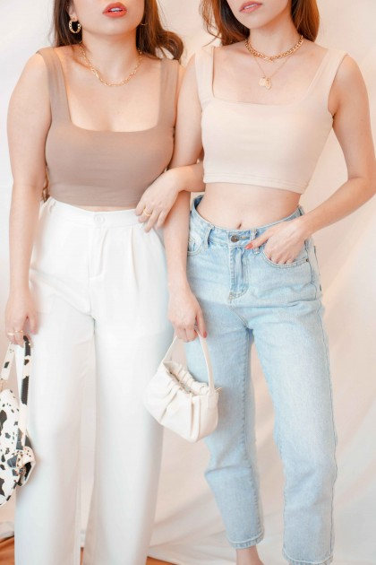 (BACKORDER) Cold Hearted Padded Crop Top in Beige