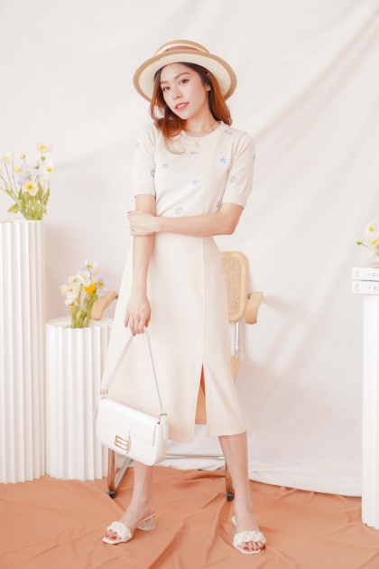 Style City Skirt with Slit in Beige