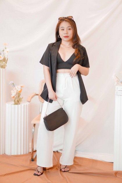 Bay Sands Short Sleeve Blazer in Black