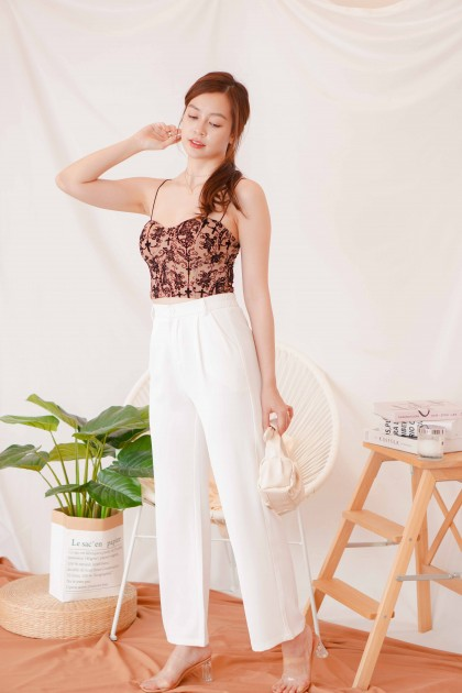 Tyra High Waisted Pants in White