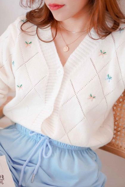 Summer in Spain Floral Cardigan in White