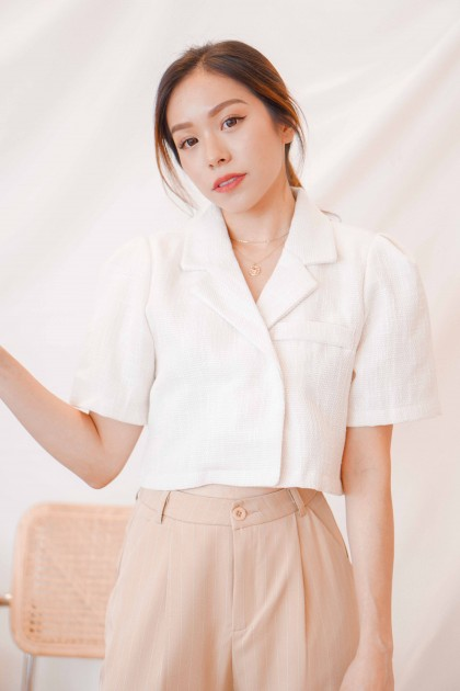 Higher Places Tweed Collared Top in White
