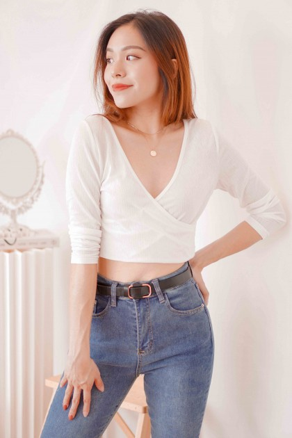 The Insider Self Wrap Long Sleeve Top in White