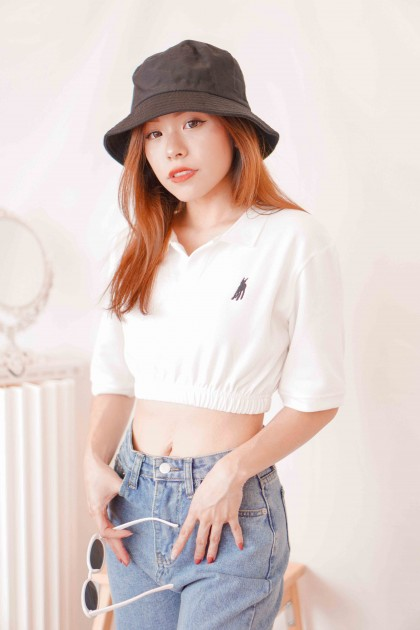 (BACKORDER) Get Social Collar Crop Top in White
