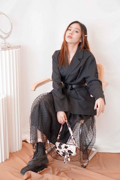(BACKORDER) Muse Amuse Puffy Polkadot Skirt in Black