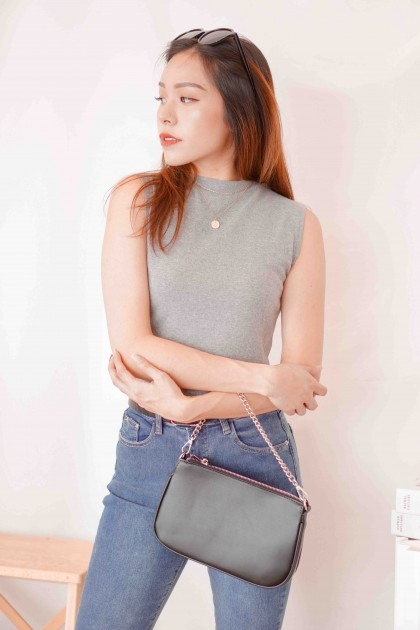 Molly Basic High Neck Top in Grey