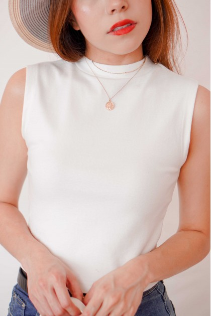 Molly Basic High Neck Top in White