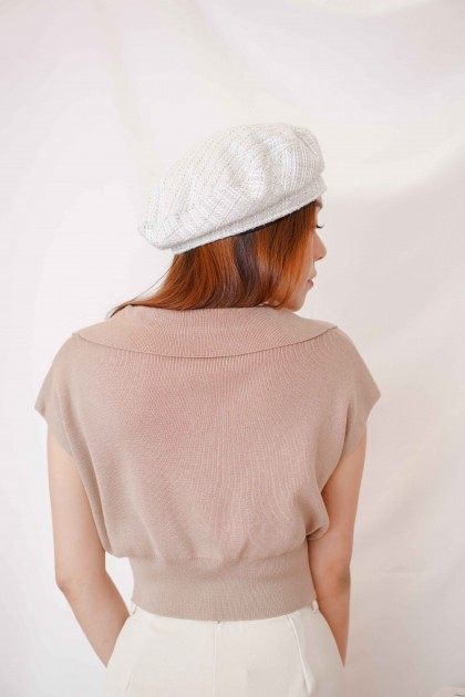 Mon Paris Collar Knit Top in Khaki