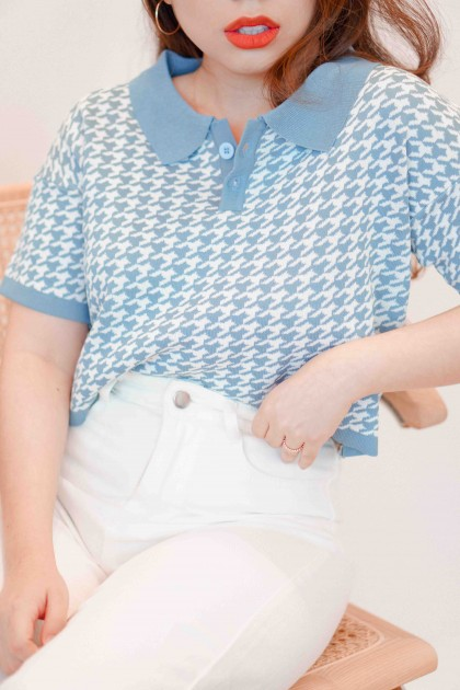 Teach Peace Houndsooth Collar Top in Blue