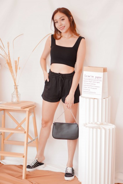 Cold Hearted Padded Crop Top in Black