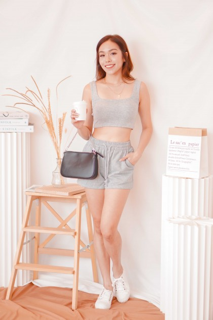 Cold Hearted Padded Crop Top in Grey