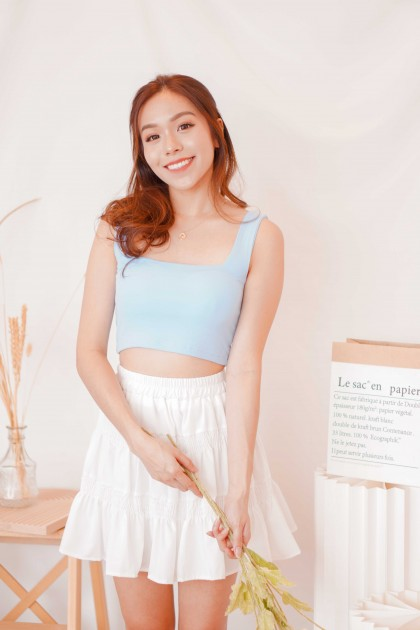 Cold Hearted Padded Crop Top in Blue