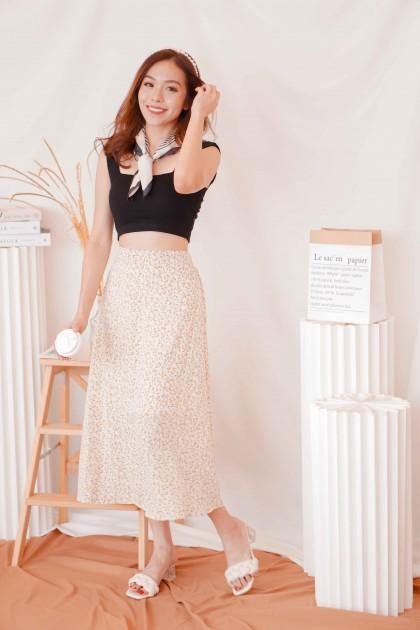 Meadow Lane Midi Floral Skirt in Beige