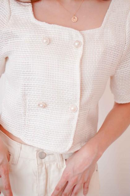 Nara Tweed Top Jacket in White