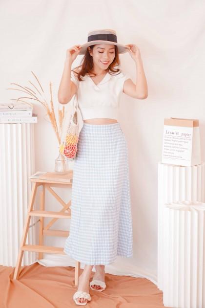 Brunch Mind Gingham Midi Skirt in Blue