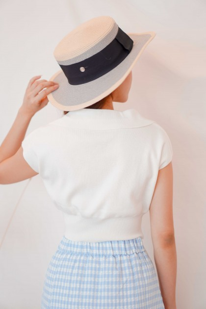 Mon Paris Collar Knit Top in White