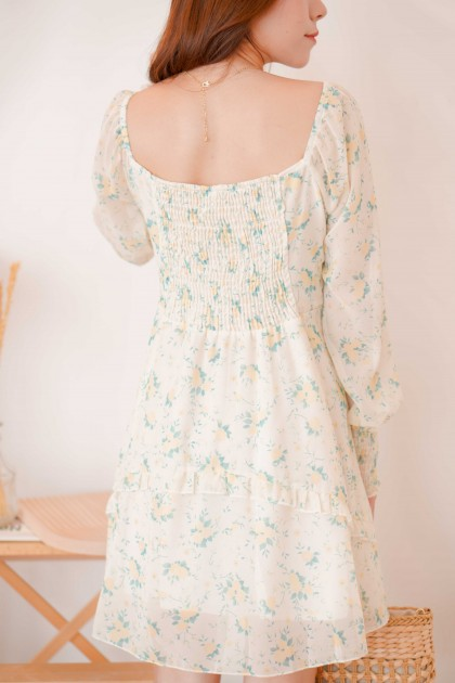 Yellow Lily Puffy Sleeves Floral Dress