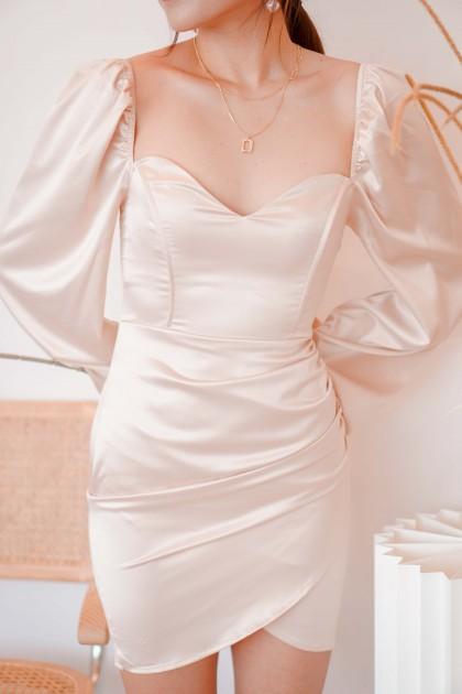 Golden Spell Satin Dress in Champagne