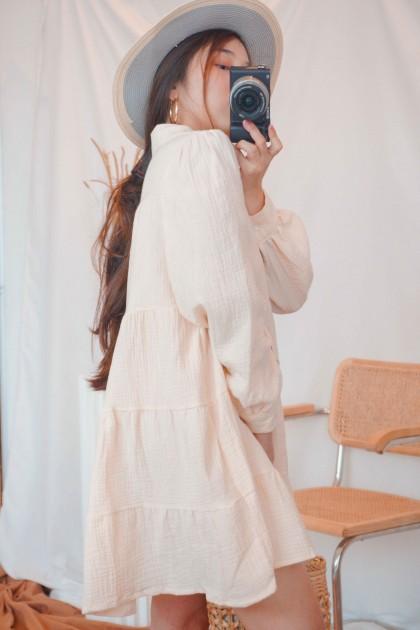 Comfy Always Puffy Dress in Beige