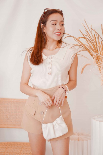 Madison Collar Sleeveless Knit Top in Beige