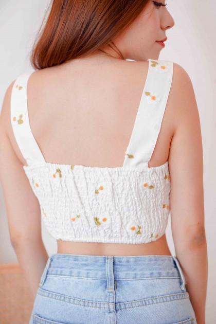 Bloom Days Daisy Crop Top in White