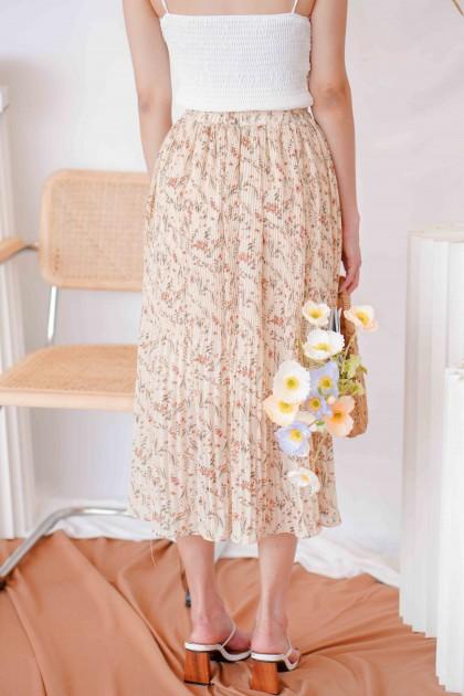Fresh Eyes Floral Midi Skirt in Dark Beige