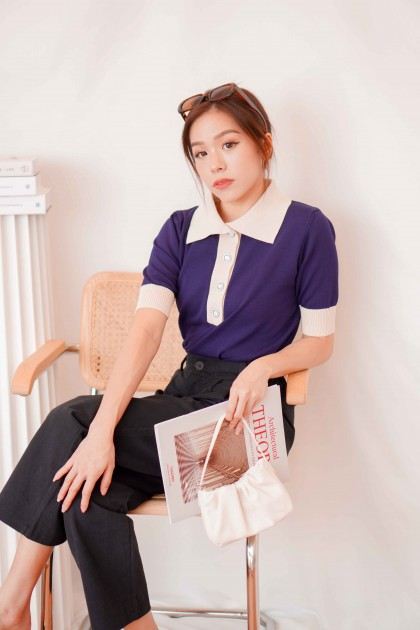 Thinker Girl Collar Knit Top in Blue
