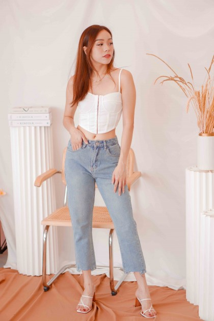 Notice You Corset Bralet Top in White