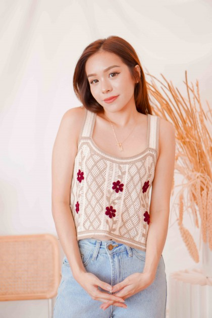 Ranch Vibes Knit Top in Brown
