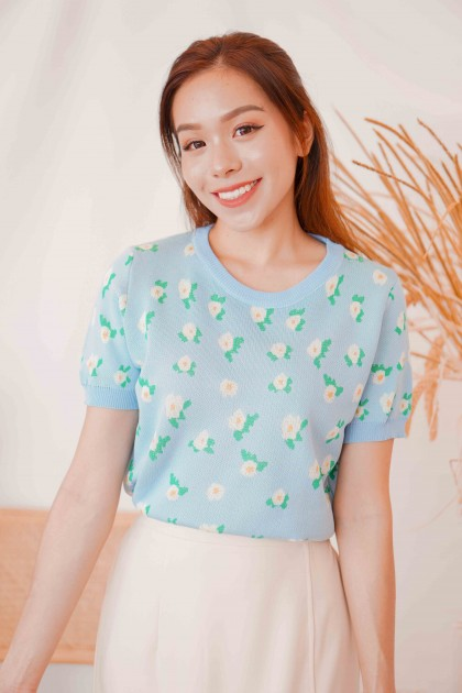 Out of Blues Floral Knit Top in Blue