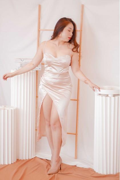 Lucky Sparkle Satin Slit Dress in Champagne