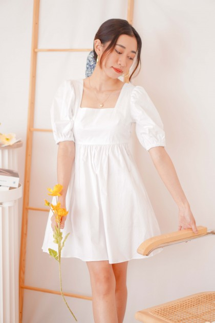 Cotton Dates Puffy Crossback Dress in White