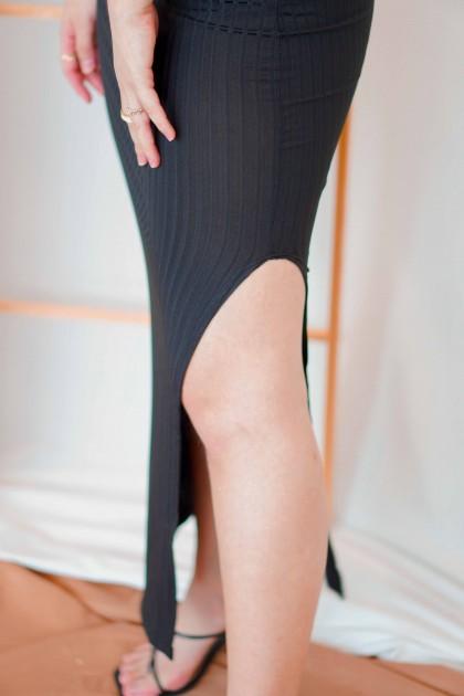 Hot Minute Midi Cutout Dress in Black