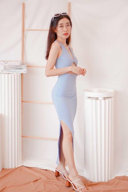 Hot Minute Midi Cutout Dress in Blue