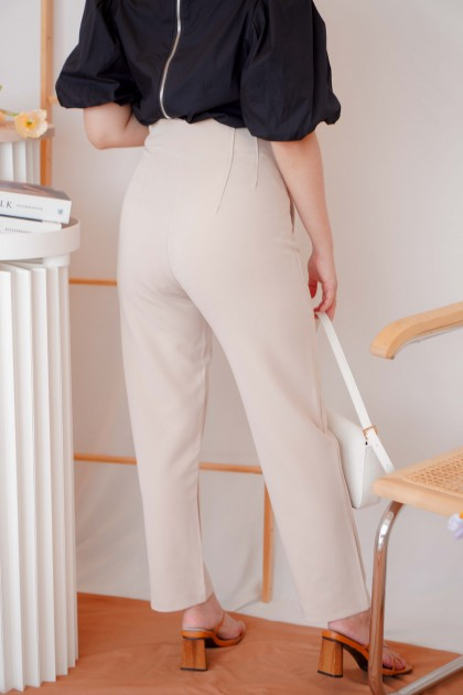 Bianca High Waisted Cropped Pants in Beige