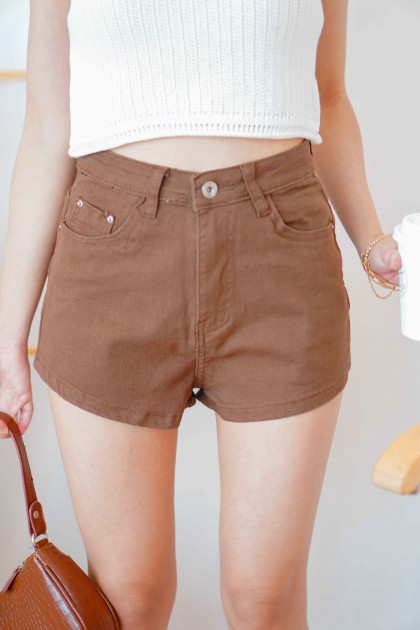 Cocoa Crush High Waisted Shorts in Brown