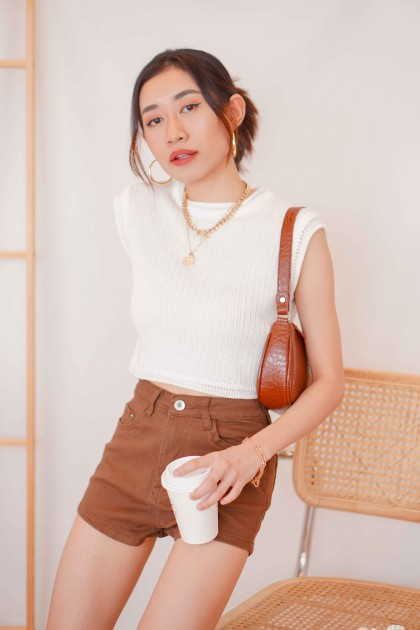 (BACKORDER) Cover Up Knit Muscle Tee in White