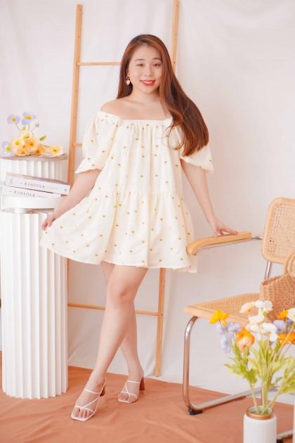 Rainbow Mind Puffy Floral Dress in Cream